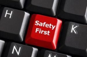 Key on a keyboard that says safety first